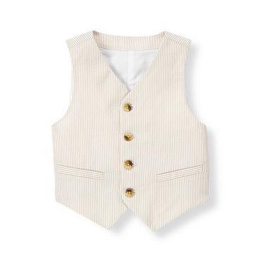 Khaki Stripe Stripe Seersucker Suit Vest at JanieandJack
