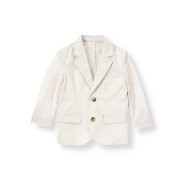 Khaki Stripe Stripe Seersucker Suit Blazer at JanieandJack