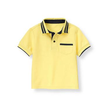 Lemon Yellow Tipped Polo Shirt at JanieandJack