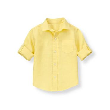 Lemon Yellow Linen Roll Cuff Shirt at JanieandJack
