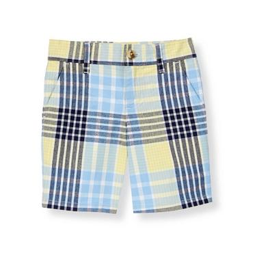 Boys Shoreline Blue Plaid Plaid Canvas Short at JanieandJack