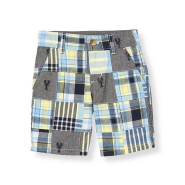 Boys Navy Plaid Patchwork Embroidered Lobster Patchwork Short at JanieandJack