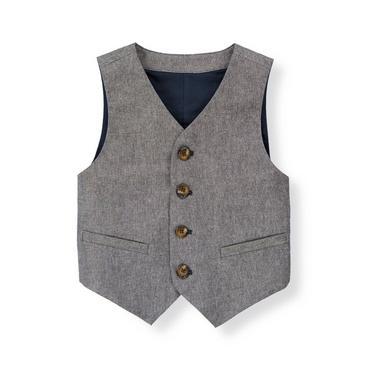 Chambray Chambray Suit Vest at JanieandJack