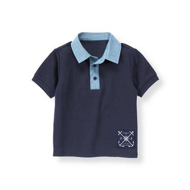 Classic Navy Chambray Collar Polo Shirt at JanieandJack