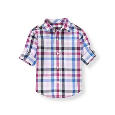 Purple Gingham Gingham Roll Cuff Shirt at JanieandJack