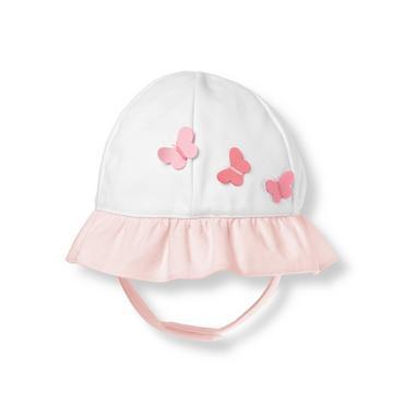 Pure White/Butterfly Pink Butterfly Poplin Hat at JanieandJack