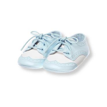 Baby Boy Turtle Blue Wing Tip Crib Shoe at JanieandJack