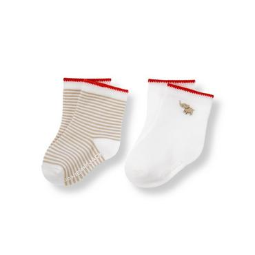 Pure White Stripe/Elephant Elephant Stripe Sock Two-Pack at JanieandJack