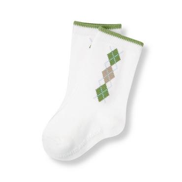 Baby Boy Pure White Argyle Sock at JanieandJack