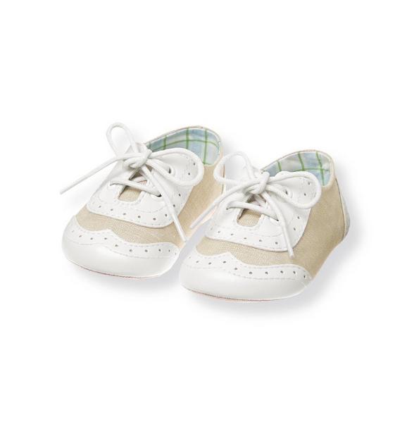 Wingtip Linen Blend Crib Shoe