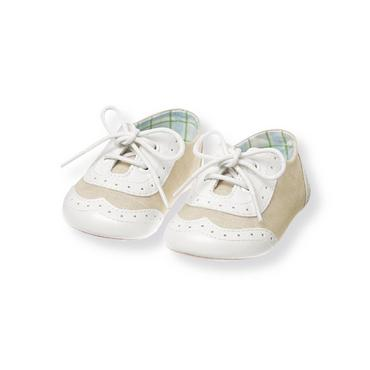 Baby Boy Heathered Khaki Wingtip Linen Blend Crib Shoe at JanieandJack