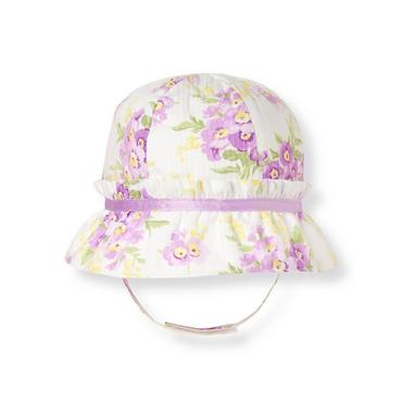 Purple Pansy Bow Stripe Dobby Floral Hat at JanieandJack