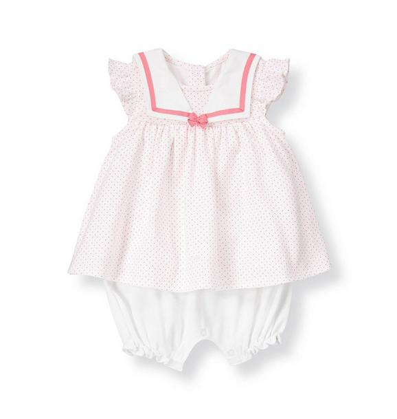 Sailor Collar Pindot Skirted One-Piece