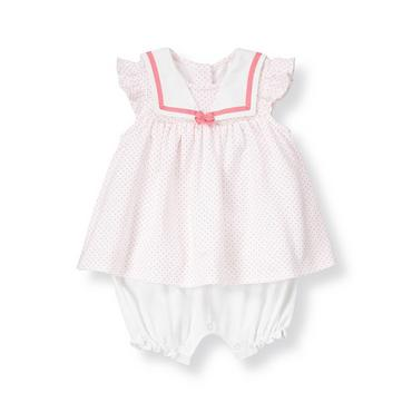 Baby Girl Pink/White Sailor Collar Pindot Skirted One-Piece at JanieandJack