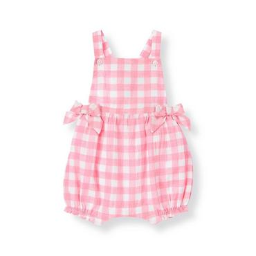Baby Girl Pink Posy Gingham Gingham Bubble Shortall at JanieandJack