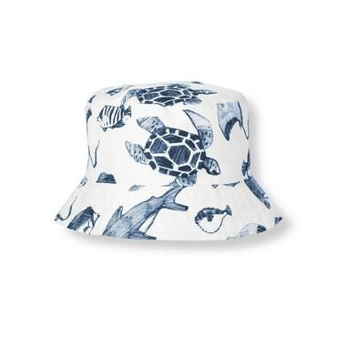 Boys White/Blue Fish Sea Creatures Bucket Hat at JanieandJack