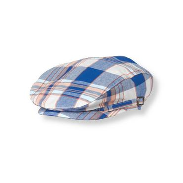 Boys Seaside Blue Plaid Plaid Canvas Cap at JanieandJack