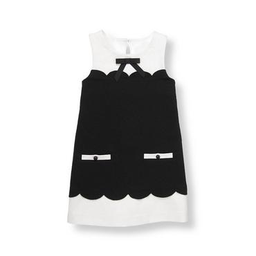 Classic Black Bow Scallop Ponte Dress at JanieandJack