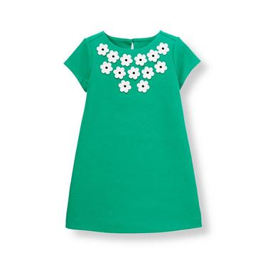 Emerald Green Flower Ponte Dress at JanieandJack