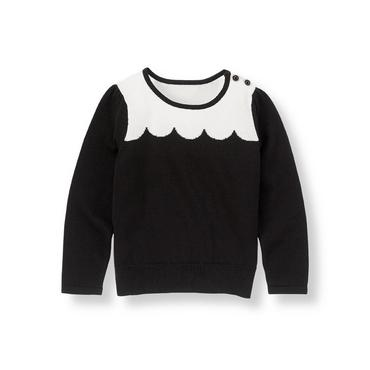 Classic Black Scallop Sweater at JanieandJack