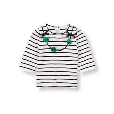 White/Black Stripe Flower Necklace Striped Top at JanieandJack