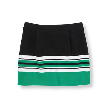 Black/Emerald Green Colorblock Ponte Skirt at JanieandJack