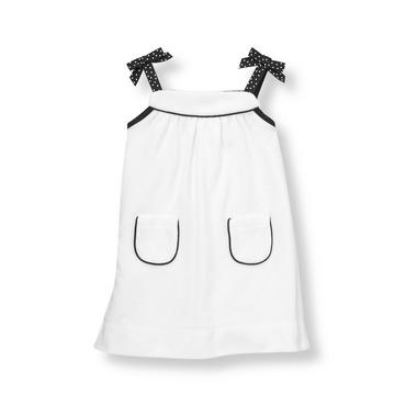Pure White Dot Bow Terry Swim Cover-Up at JanieandJack