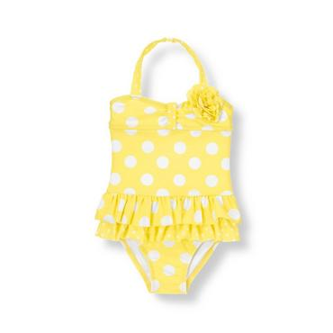 Canary Yellow Dot Corsage Dot Swimsuit at JanieandJack