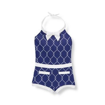 Marine Blue Rope Print Swimsuit at JanieandJack