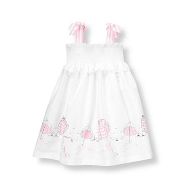 White/Pink Beach Parasols Poplin Dress at JanieandJack