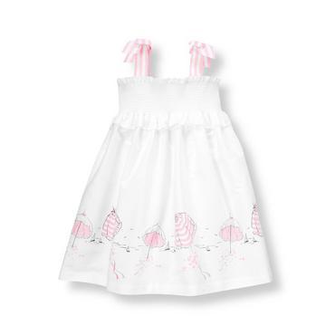 White/Pink Beach Parasols Poplin Dress at JanieandJack