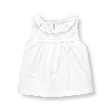 Pure White Ruffle Knit Top at JanieandJack