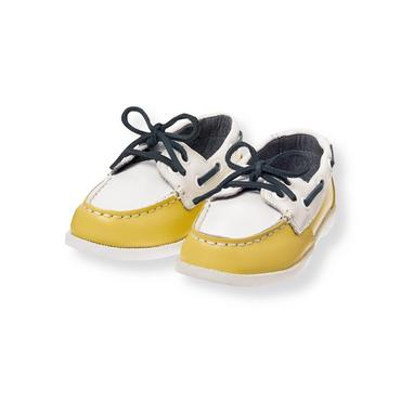Dark Yellow Leather Boat Shoe at JanieandJack