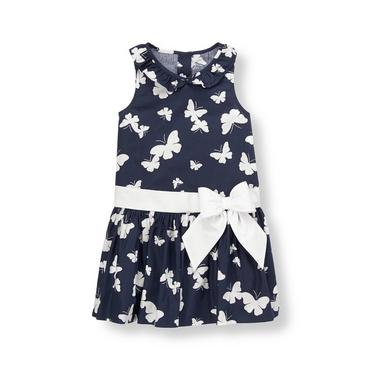 Spring Navy Butterfly Bow Butterfly Dress at JanieandJack