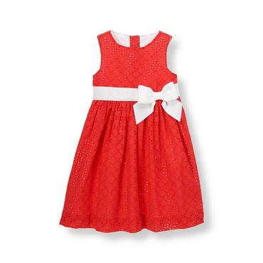 Vintage Red Bow Eyelet Dress at JanieandJack