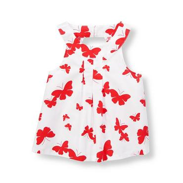 Vintage Red Butterfly Butterfly Pleated Top at JanieandJack