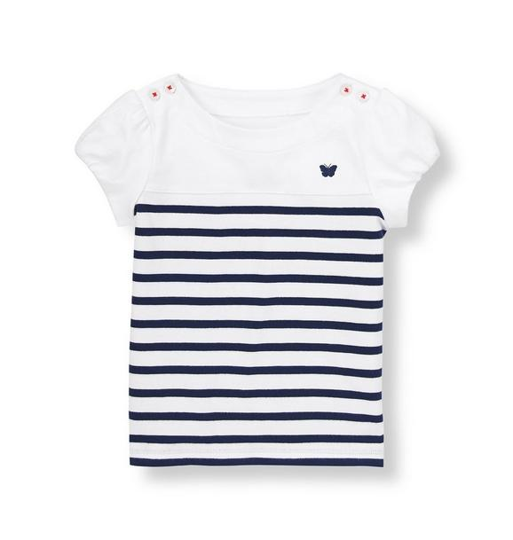 Stripe Shoulder Button Top