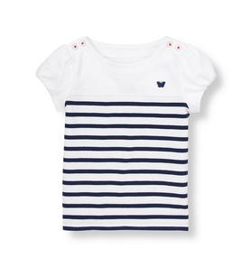 Stripe Shoulder Button Top