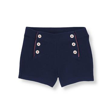 Spring Navy Button Pique Short at JanieandJack