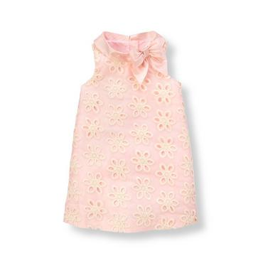 Petal Pink Floral Eyelet Silk Duppioni Dress at JanieandJack