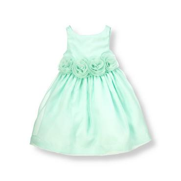 Robin Egg Blue Rosette Silk Organza Dress at JanieandJack