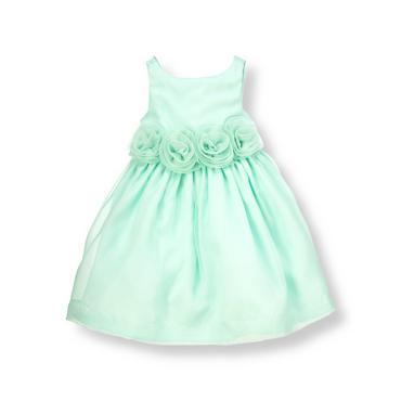 robin egg blue rosette silk organza dress at