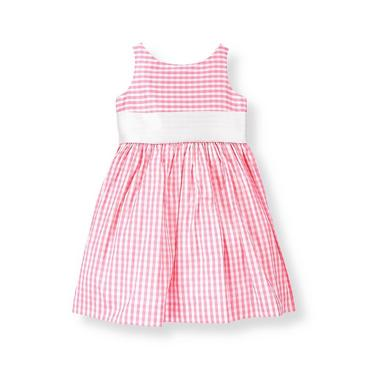 Blossom Pink Gingham Gingham Silk Duppioni Dress at JanieandJack
