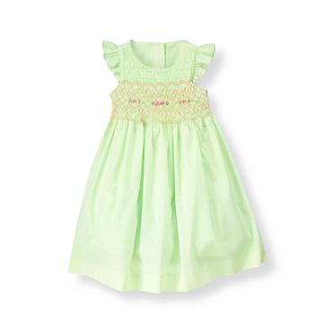 Spring Mint Hand-Smocked Batiste Dress at JanieandJack