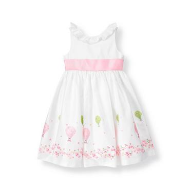 Pure White Hot Air Balloon Sateen Dress at JanieandJack