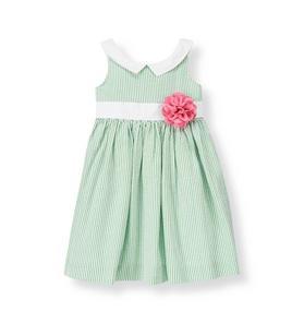 Corsage Stripe Seersucker Dress