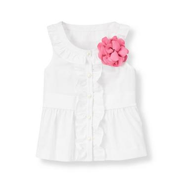 Pure White Corsage Ruffle Poplin Top at JanieandJack