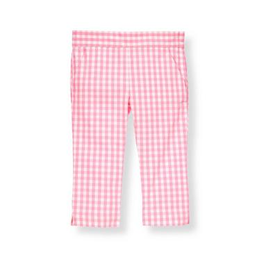 Blossom Pink Check Gingham Crop Pant at JanieandJack