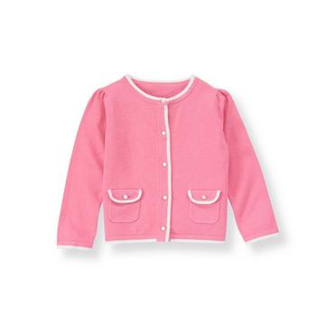 Blossom Pink Flap Pocket Tipped Cardigan at JanieandJack