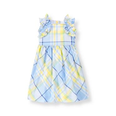 French Blue Plaid Ruffle Plaid Dress at JanieandJack